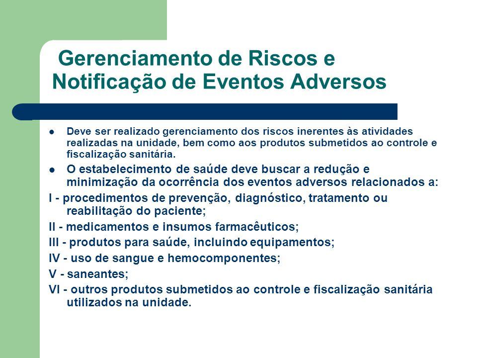 Gerenciamento de Riscos e Notificação de Eventos Adversos