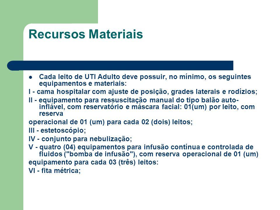 Recursos Materiais Cada leito de UTI Adulto deve possuir, no mínimo, os seguintes equipamentos e materiais: