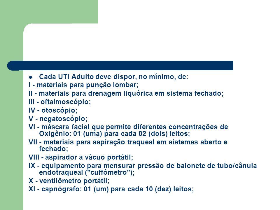 Cada UTI Adulto deve dispor, no mínimo, de: