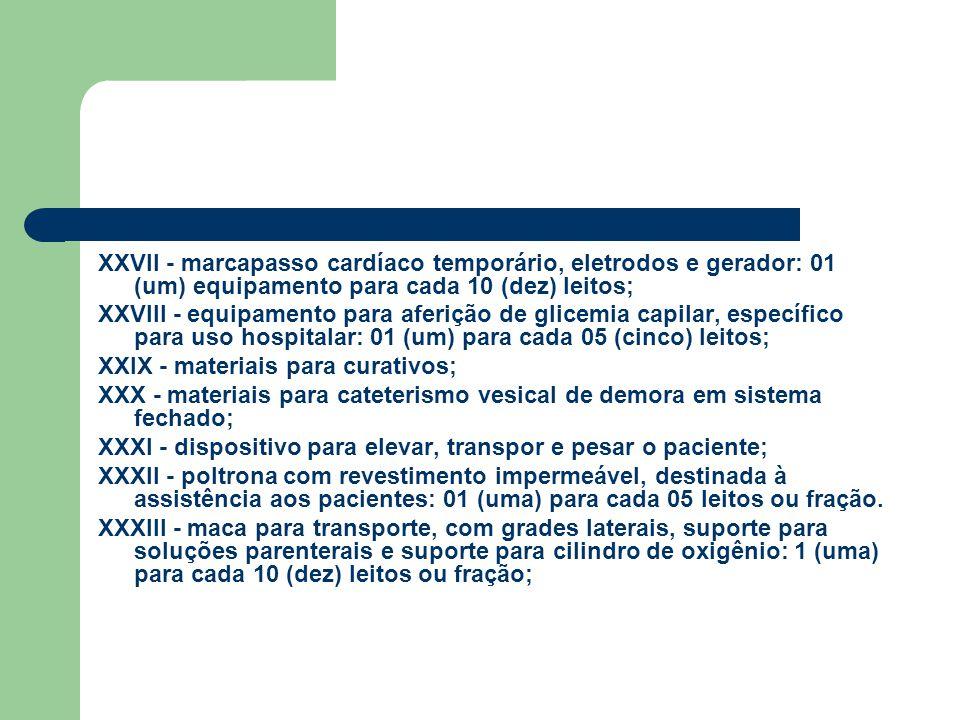 XXVII - marcapasso cardíaco temporário, eletrodos e gerador: 01 (um) equipamento para cada 10 (dez) leitos;
