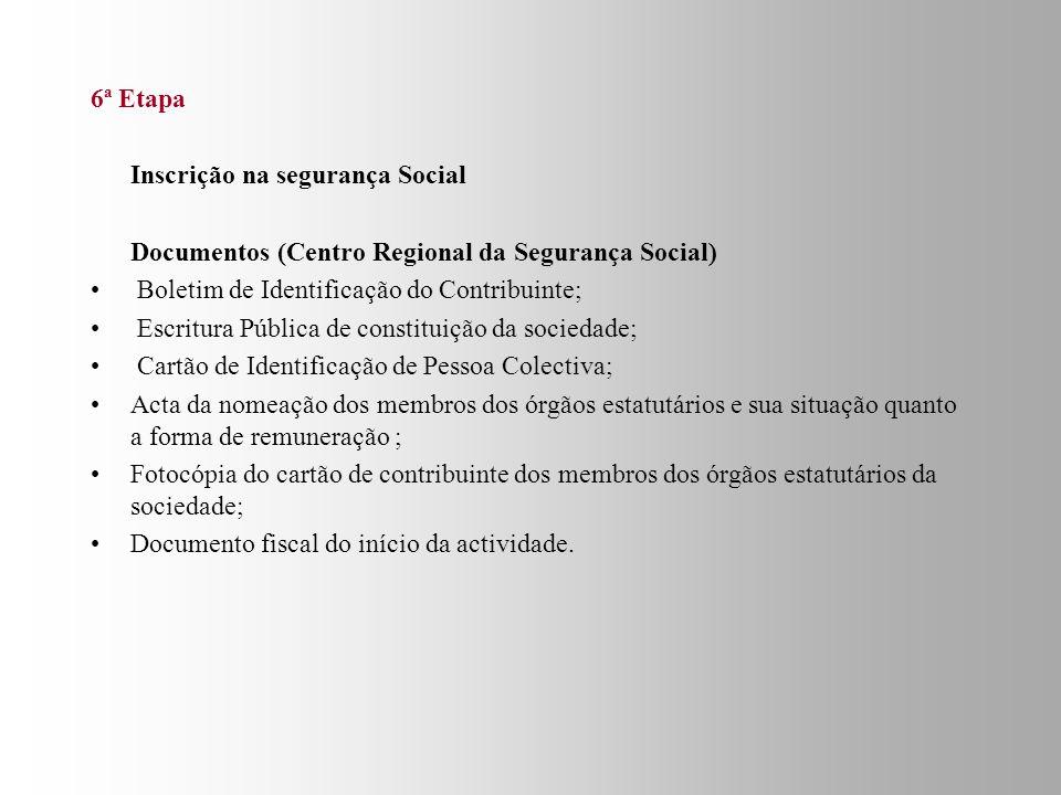 6ª Etapa Inscrição na segurança Social. Documentos (Centro Regional da Segurança Social) Boletim de Identificação do Contribuinte;