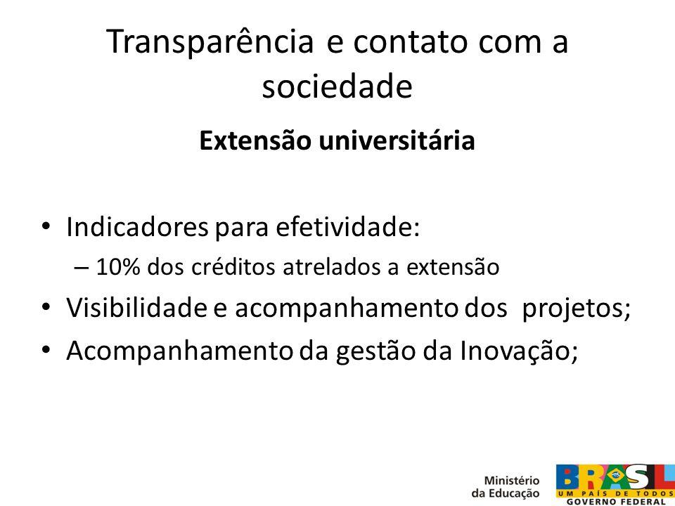 Transparência e contato com a sociedade