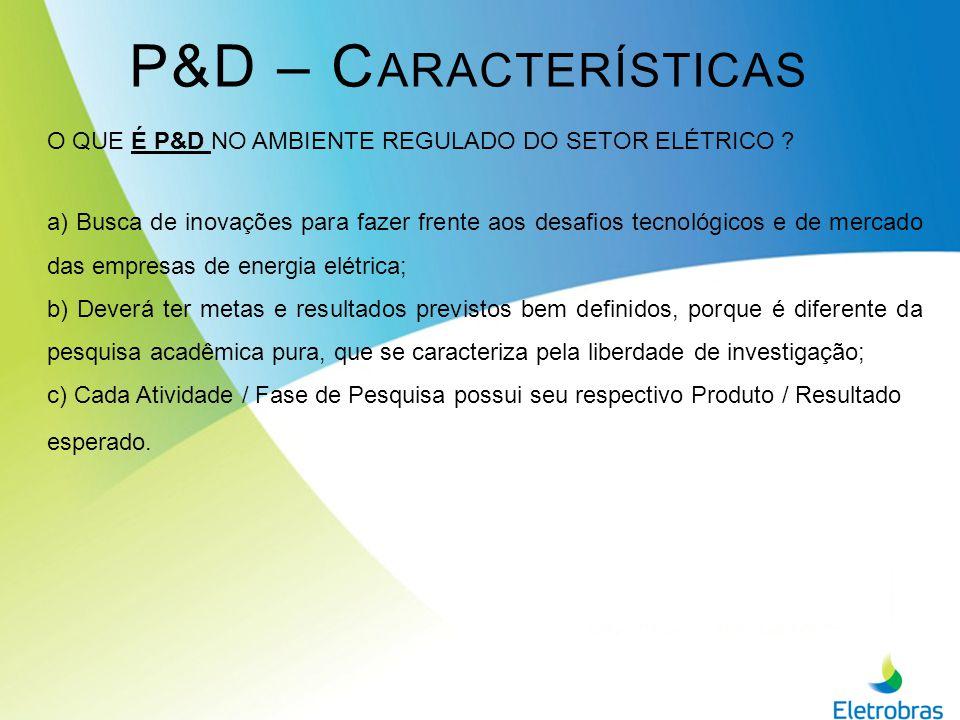 P&D – Características O QUE É P&D NO AMBIENTE REGULADO DO SETOR ELÉTRICO