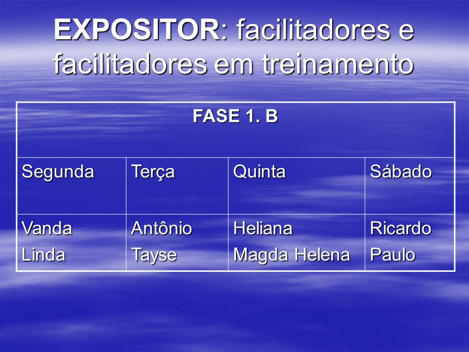 EXPOSITOR: facilitadores e facilitadores em treinamento