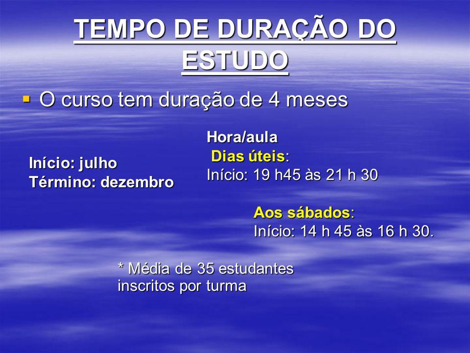 TEMPO DE DURAÇÃO DO ESTUDO