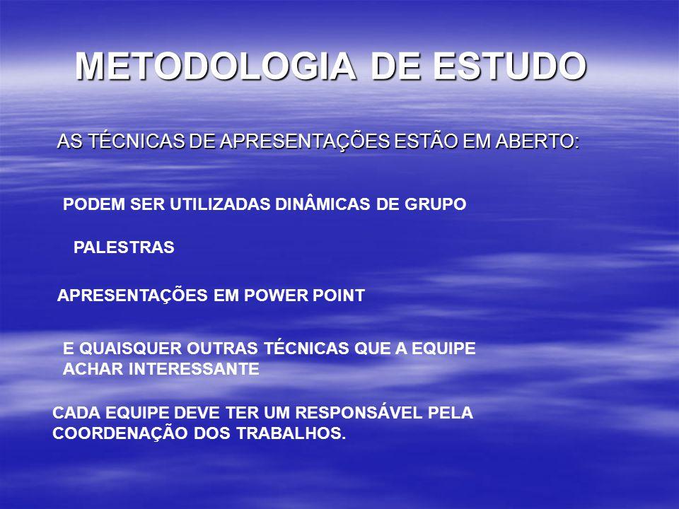 METODOLOGIA DE ESTUDO AS TÉCNICAS DE APRESENTAÇÕES ESTÃO EM ABERTO: