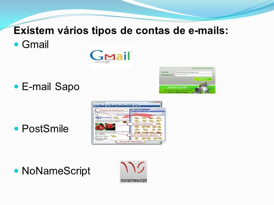 Existem vários tipos de contas de e-mails:
