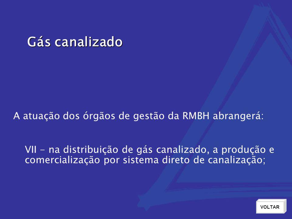Gás canalizado A atuação dos órgãos de gestão da RMBH abrangerá: