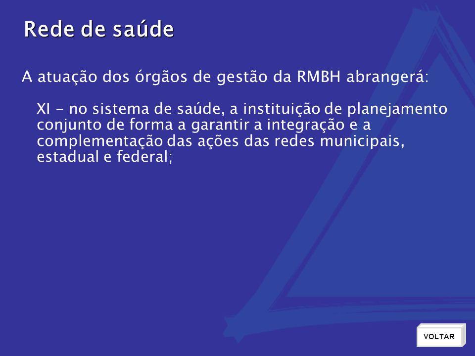 Rede de saúde A atuação dos órgãos de gestão da RMBH abrangerá: