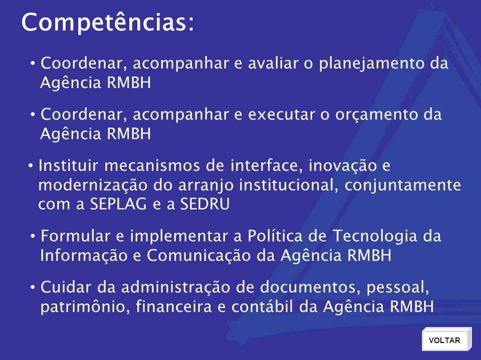 Competências: Coordenar, acompanhar e avaliar o planejamento da