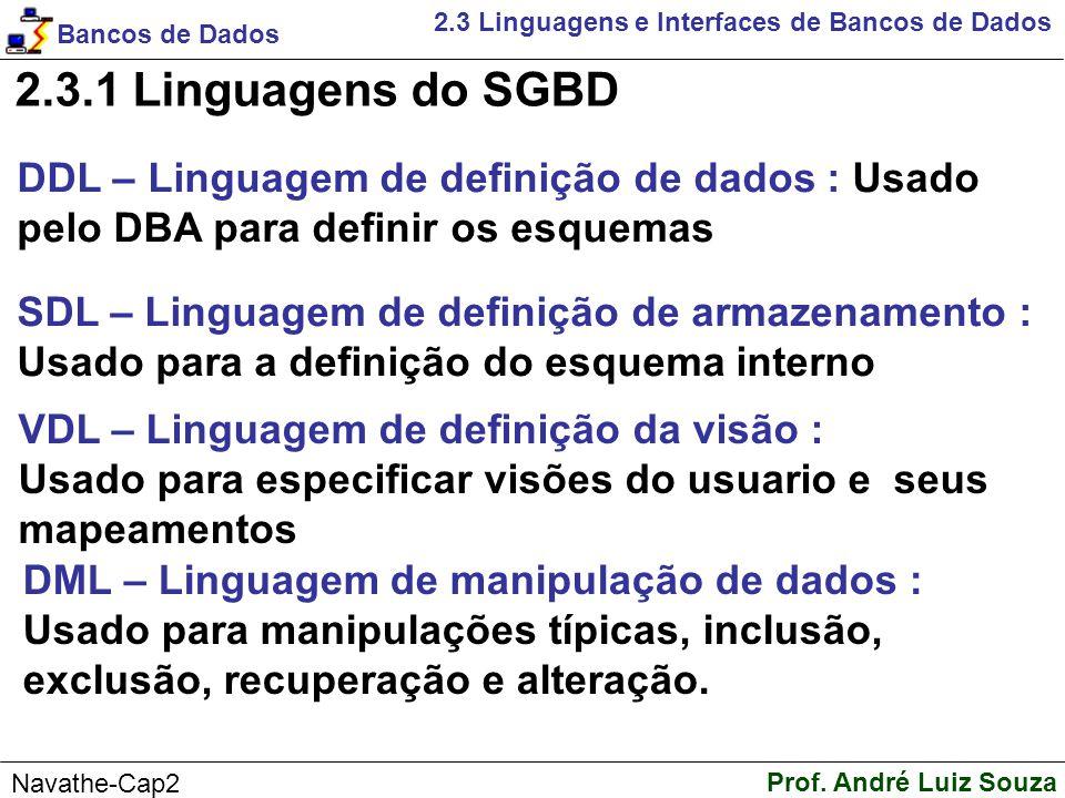 2.3.1 Linguagens do SGBD DDL – Linguagem de definição de dados : Usado