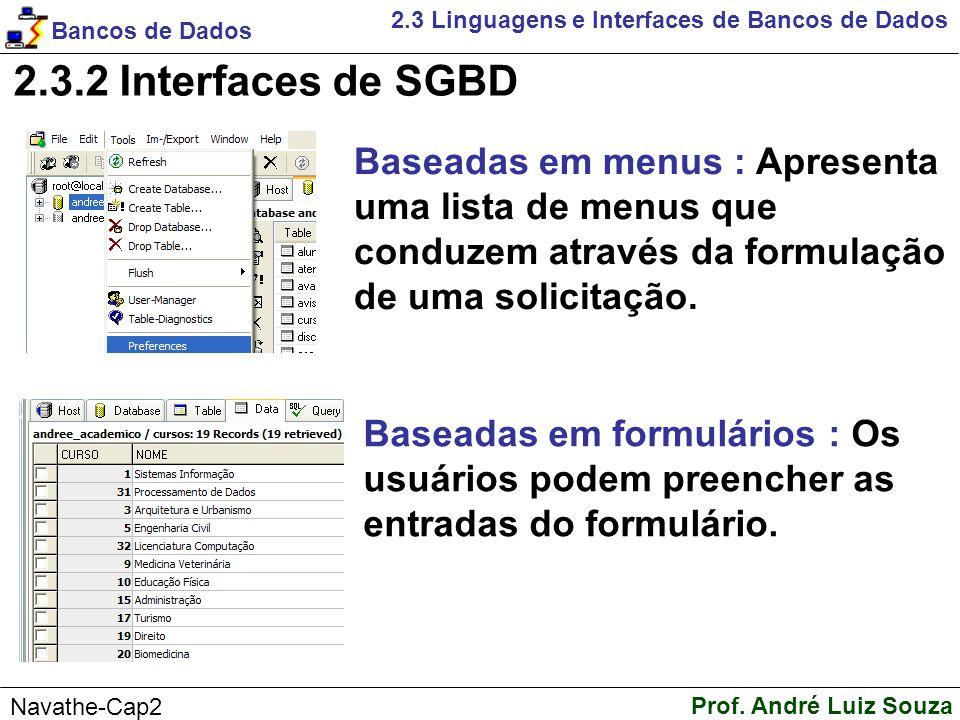 2.3.2 Interfaces de SGBD Baseadas em menus : Apresenta