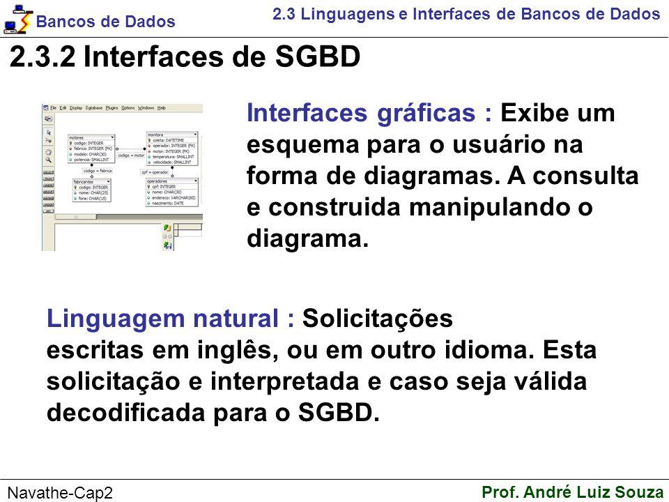 2.3.2 Interfaces de SGBD Interfaces gráficas : Exibe um
