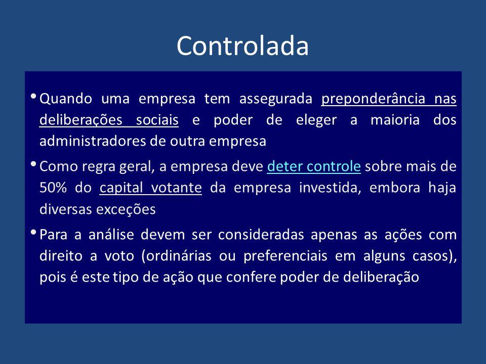 Controlada Quando uma empresa tem assegurada preponderância nas deliberações sociais e poder de eleger a maioria dos administradores de outra empresa.