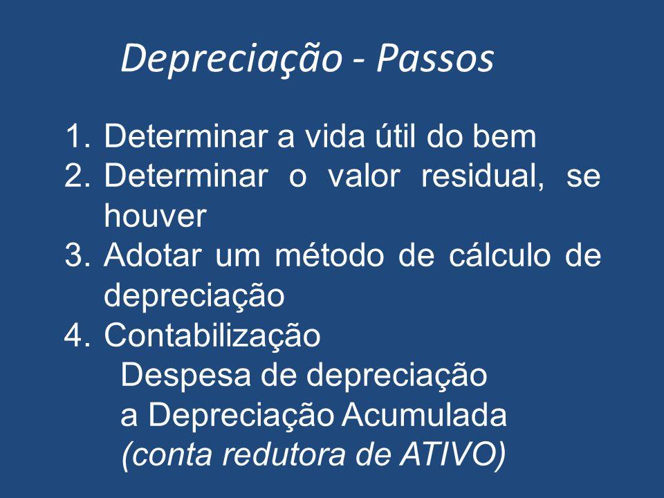 Depreciação - Passos Determinar a vida útil do bem