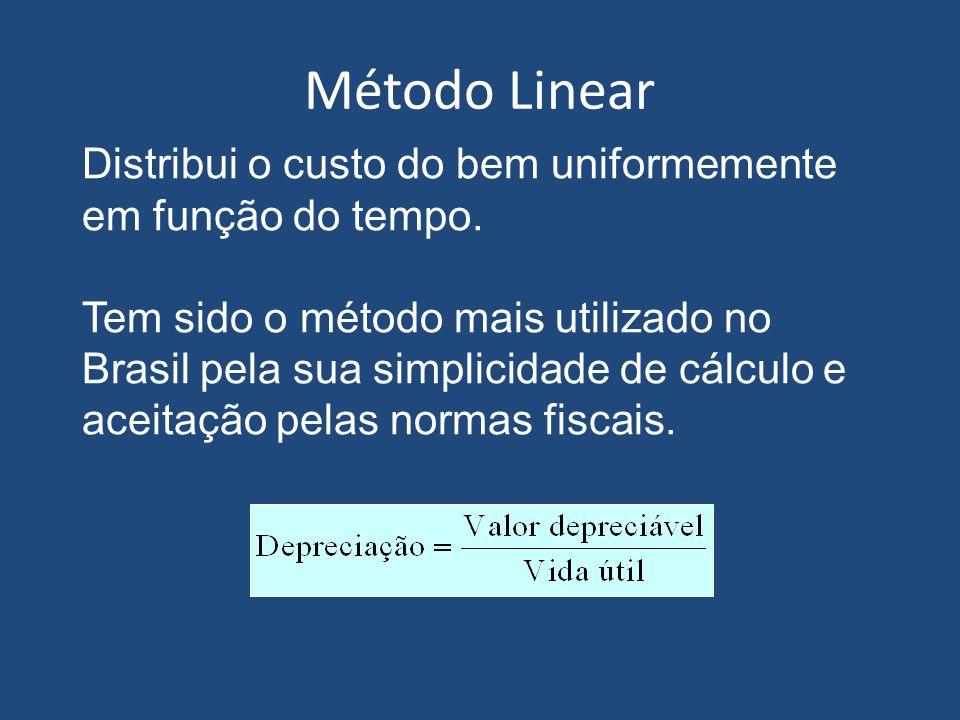 Método Linear Distribui o custo do bem uniformemente em função do tempo.