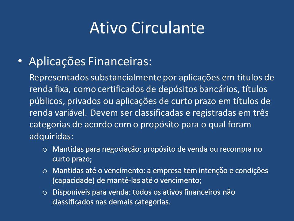 Ativo Circulante Aplicações Financeiras: