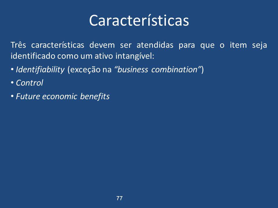 Características Três características devem ser atendidas para que o item seja identificado como um ativo intangível: