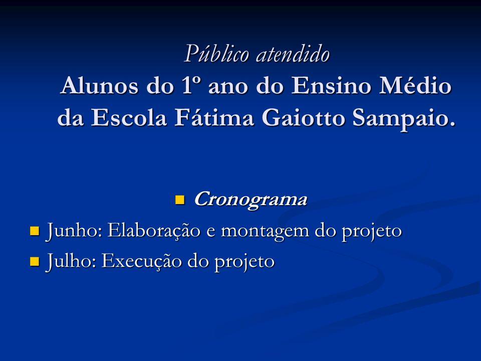 Público atendido Alunos do 1º ano do Ensino Médio da Escola Fátima Gaiotto Sampaio.