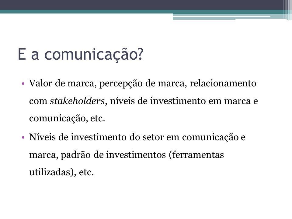 E a comunicação Valor de marca, percepção de marca, relacionamento com stakeholders, níveis de investimento em marca e comunicação, etc.