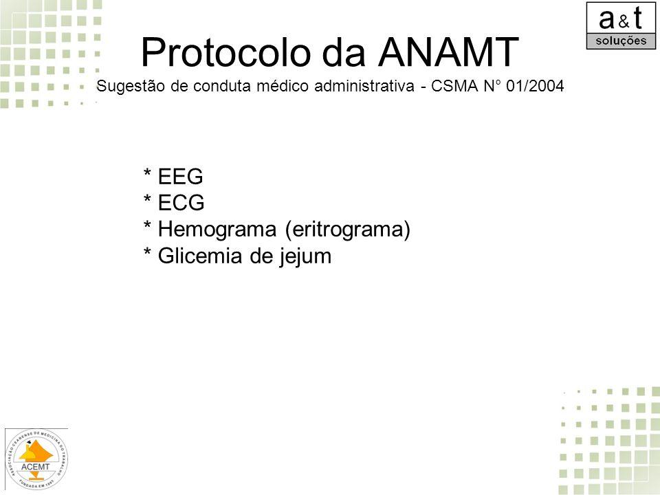 Protocolo da ANAMT Sugestão de conduta médico administrativa - CSMA N° 01/2004