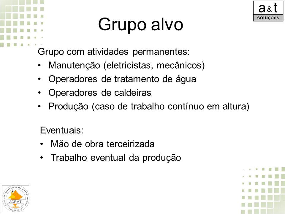 Grupo alvo Grupo com atividades permanentes: