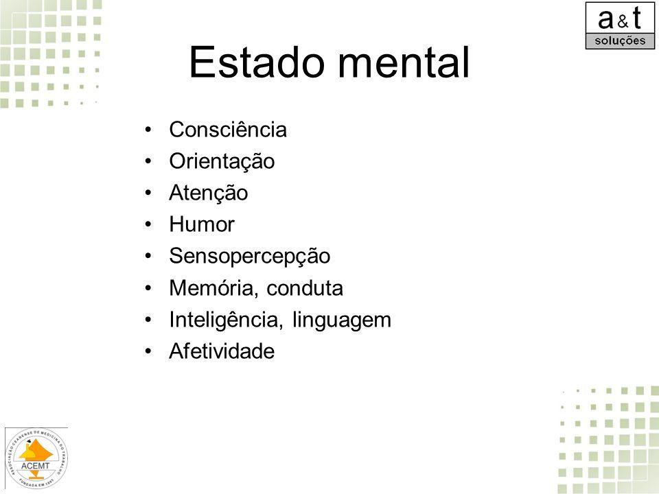 Estado mental Consciência Orientação Atenção Humor Sensopercepção