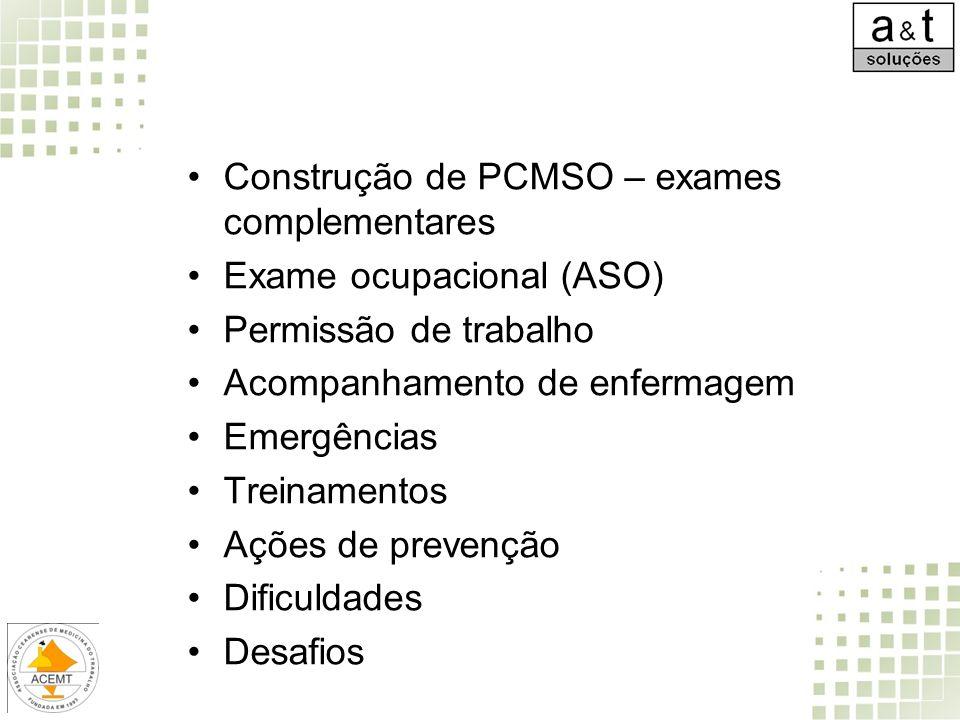 Construção de PCMSO – exames complementares