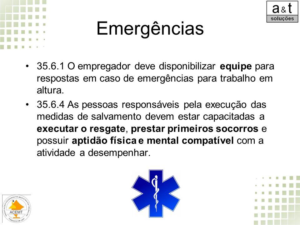 Emergências 35.6.1 O empregador deve disponibilizar equipe para respostas em caso de emergências para trabalho em altura.