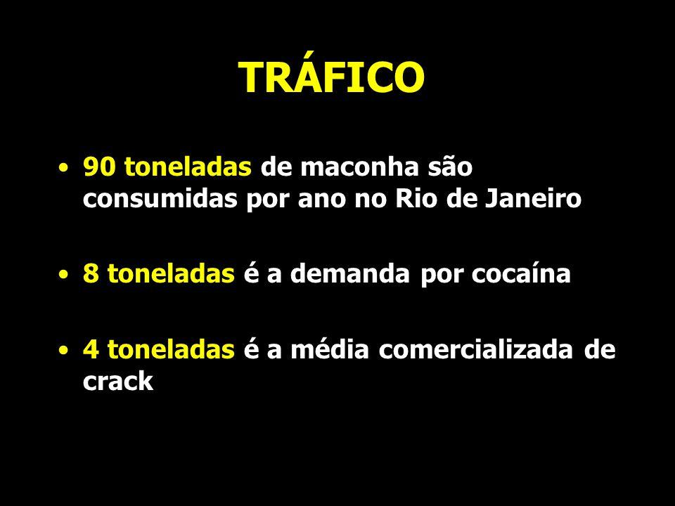 TRÁFICO 90 toneladas de maconha são consumidas por ano no Rio de Janeiro. 8 toneladas é a demanda por cocaína.