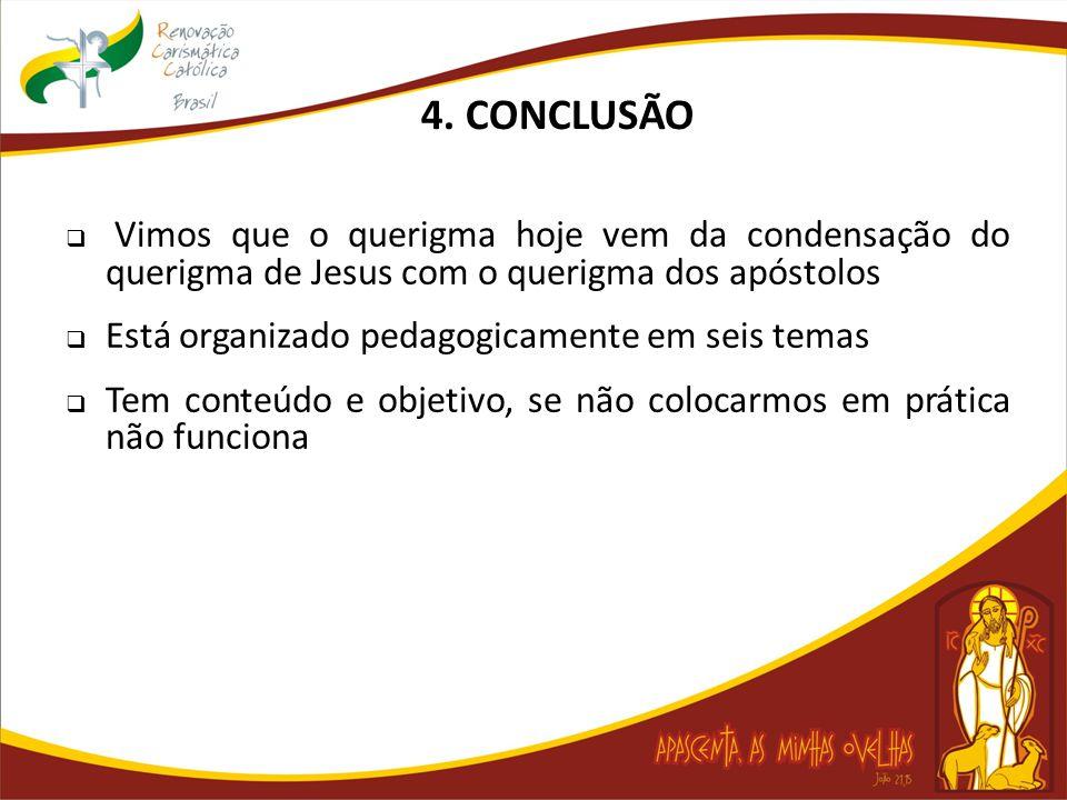4. CONCLUSÃO Vimos que o querigma hoje vem da condensação do querigma de Jesus com o querigma dos apóstolos.