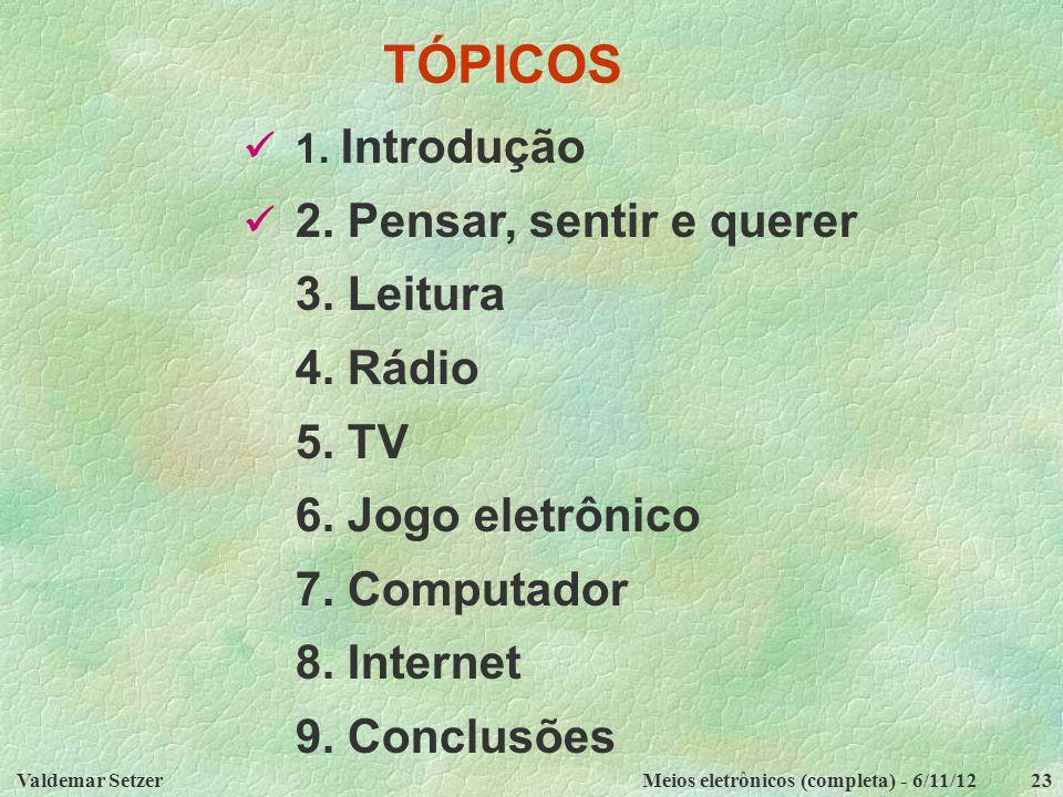 TÓPICOS 3. Leitura 4. Rádio 5. TV 6. Jogo eletrônico 7. Computador