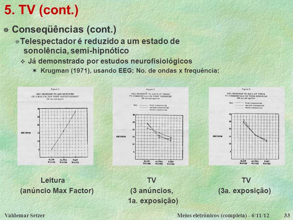 5. TV (cont.) Conseqüências (cont.)