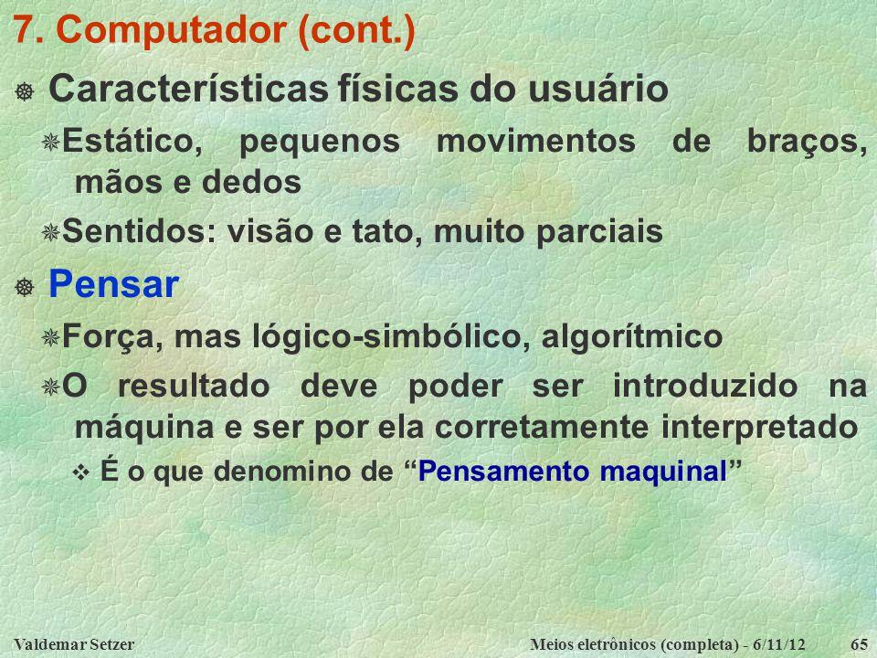 Características físicas do usuário