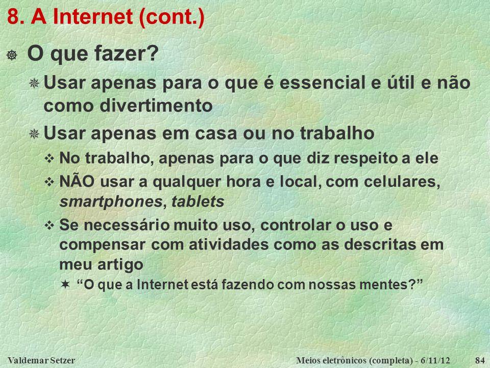 8. A Internet (cont.) O que fazer
