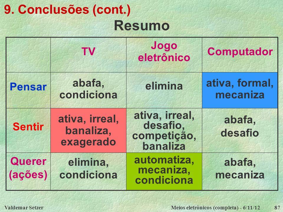 Resumo 9. Conclusões (cont.) abafa, mecaniza automatiza, mecaniza,