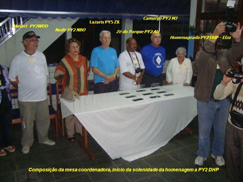 Camargo PY2 MJ Lazaris PY5 ZX. Mosart PY2WDD. Nadir PY2 NBO. Zé do Parque PY2 AU. Homenageada PY2 DHP - Elza.
