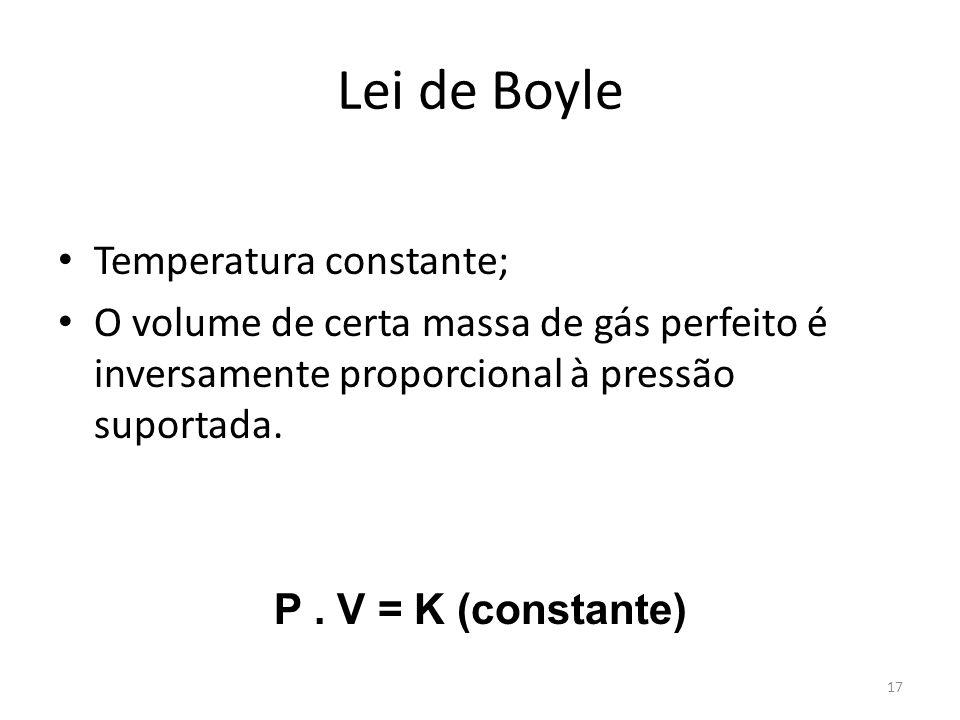 Lei de Boyle Temperatura constante;