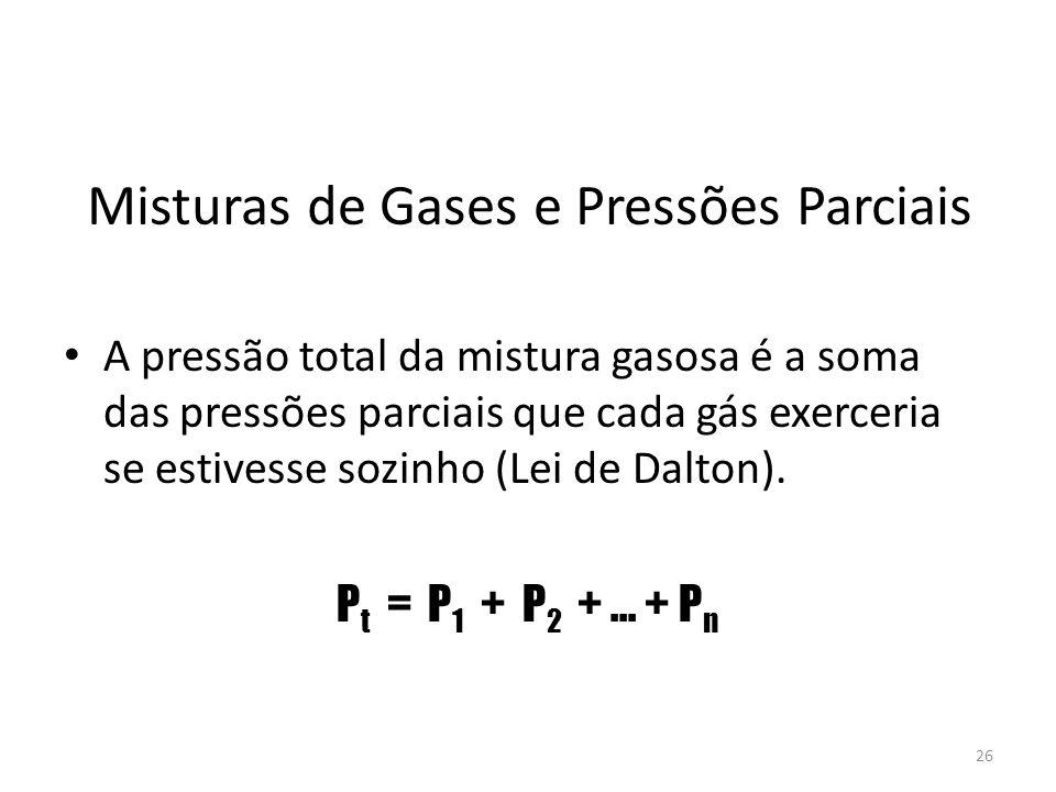 Misturas de Gases e Pressões Parciais