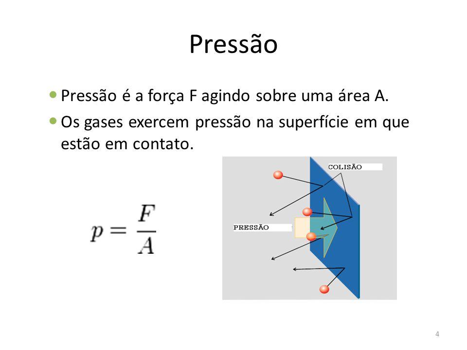 Pressão Pressão é a força F agindo sobre uma área A.