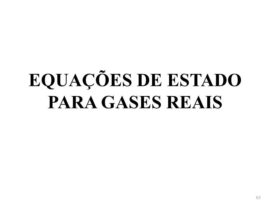 EQUAÇÕES DE ESTADO PARA GASES REAIS