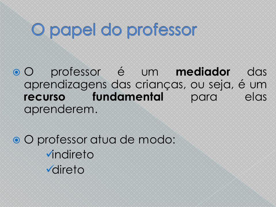 O papel do professor O professor é um mediador das aprendizagens das crianças, ou seja, é um recurso fundamental para elas aprenderem.