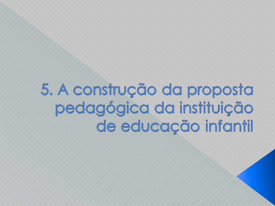 5. A construção da proposta pedagógica da instituição de educação infantil