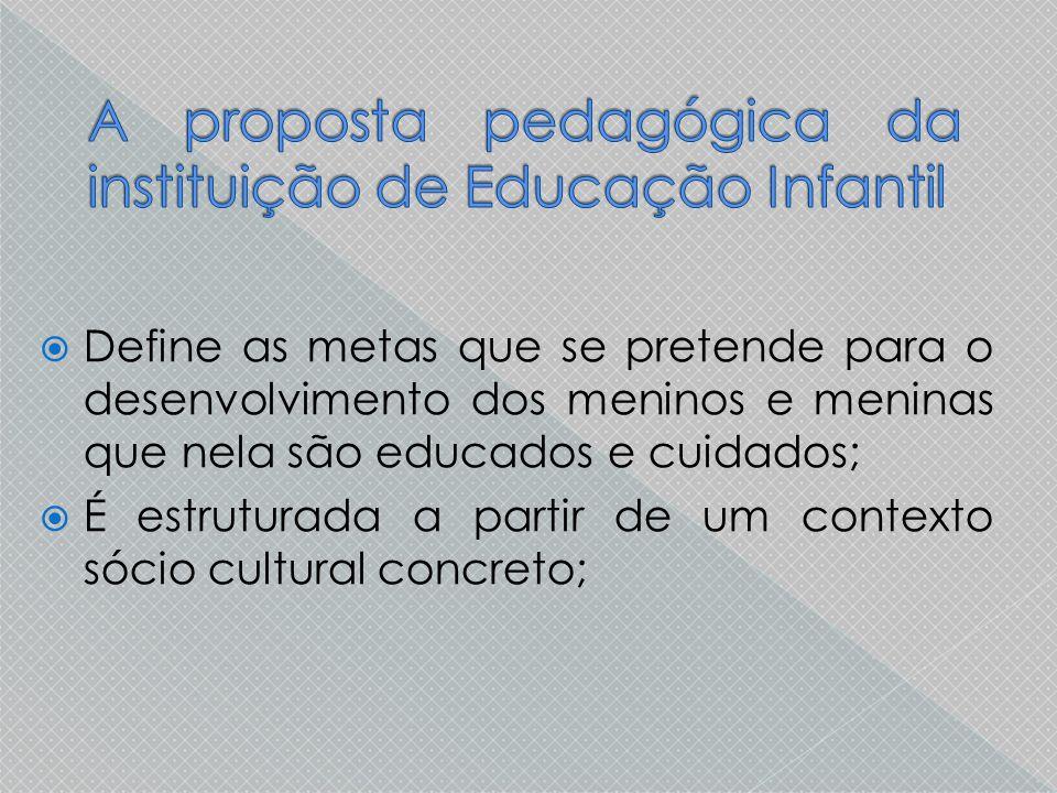 A proposta pedagógica da instituição de Educação Infantil