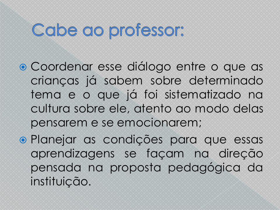 Cabe ao professor: