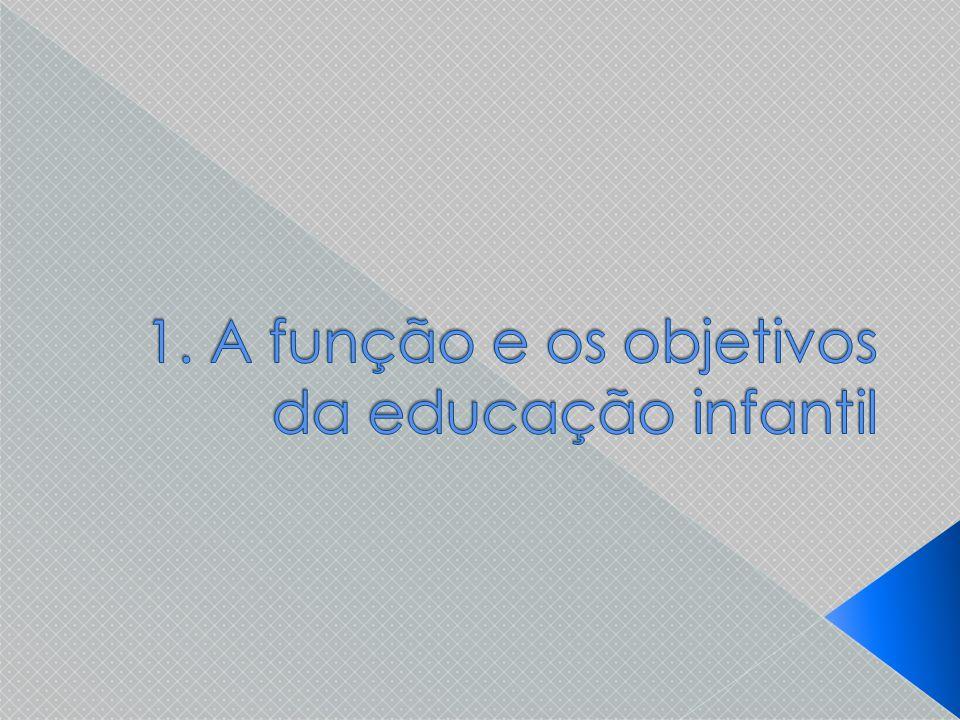 1. A função e os objetivos da educação infantil