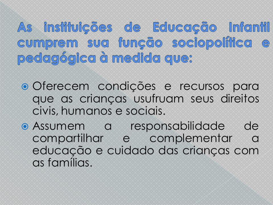 As instituições de Educação Infantil cumprem sua função sociopolítica e pedagógica à medida que: