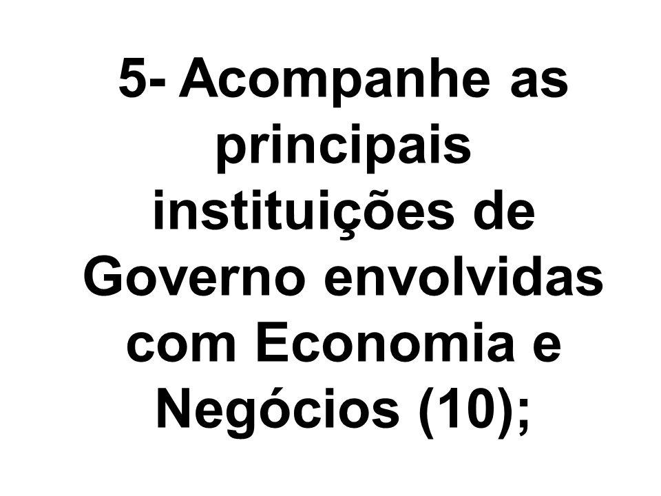 5- Acompanhe as principais instituições de Governo envolvidas com Economia e Negócios (10);