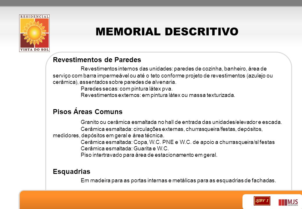 MEMORIAL DESCRITIVO Revestimentos de Paredes