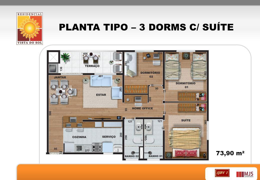 PLANTA TIPO – 3 DORMS C/ SUÍTE